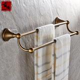 古玛特价仿古色欧式卫浴五金挂件浴室卫生间置物架全铜双杆毛巾架