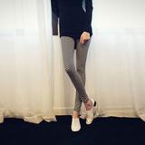 春夏新款格子七分裤打底款修身显瘦休闲铅笔小脚裤子女
