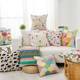现代简约抱枕套水彩动物植物棉麻靠垫创意个性沙发抱枕汽车腰靠枕