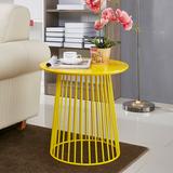 现代创意简约美式铁艺宜家沙发柜移动小茶几边桌黄色角几边几圆几