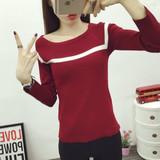 短款打底衫女韩版秋季小衫长袖针织衫上衣内搭套头T恤衫外穿秋衣