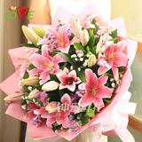 19朵百合花束鲜花速递全国北京深圳武汉花店广州南京送花西安鲜花