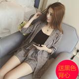 2016早秋新款韩版宽松休闲长袖西装外套短裤两件套装时尚名媛女潮