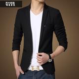 16春秋新品韩版男士修身西装外套男式加肥加大码休闲西服胖子男装