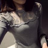 蕾丝打底衫女长袖秋季韩版潮女装修身外穿T恤针织短款网纱上衣服