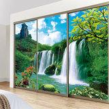 定做瀑布山水画移门贴纸窗户玻璃磨砂贴 透明推拉门贴膜 衣柜贴画