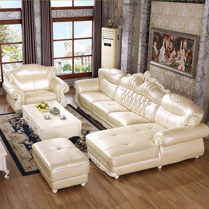 欧式真皮沙发客厅小户型组合实木整装简欧皮沙发转角头层牛皮家具商品