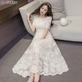2016夏季新款女装韩国长款收腰显瘦蕾丝连衣裙修身名媛气质长裙仙