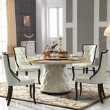 创意实木餐桌酒店韩式简小户型转盘组合组装圆形大理石欧式餐桌椅
