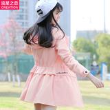 流星之恋少女2016春季韩版长袖中长款初高中学生牛仔风衣薄外套女