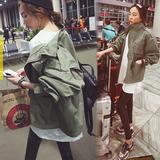 春装新款韩国女装2016韩版学生宽松收腰显瘦风衣中长款工装外套薄