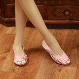 包邮绣花鞋结婚新娘婚鞋粉红色布鞋古装喜服鞋舞蹈鞋单鞋格格女鞋