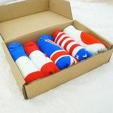 短袜男纯棉 国旗袜英国美国全棉低帮潮袜子男船袜 5双礼盒装包邮