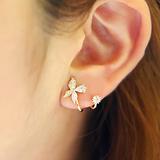 韩国同款饰品耳钉气质银耳钉女蝴蝶925银针纯银耳钉防过敏女耳环