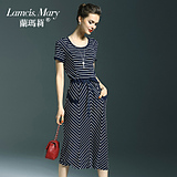 兰玛莉女装夏装2016新款时尚气质潮中长款欧美高端大牌条纹连衣裙
