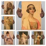 世界名画 古典美女 欧式复古牛皮纸海报 酒吧咖啡馆宿舍装饰画