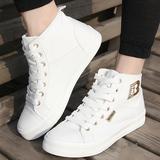 人本松糕厚底帆布鞋女 韩版潮学生运动单鞋板鞋 休闲透气高帮女鞋