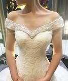 婚纱礼服2016新款鱼尾长拖尾婚纱一字肩抹胸绑带修身蕾丝钉珠钻饰