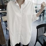 卡诺妍2016春装新款韩版宽松休闲百搭BF风中长款白衬衫女长袖衬衣