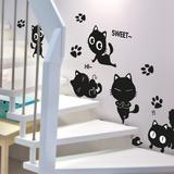 可移除墙贴喵咪创意客厅卧室玻璃墙壁贴纸卡通动物百变黑猫咪贴画
