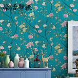 现代简约花鸟无纺布壁纸蓝色田园大花客厅卧室背景墙墙纸新中式