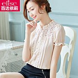 雪纺衫女短袖2016夏装新款女装韩版衬衫显瘦蕾丝上衣镂空打底衫潮