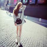 387 2015韩版女装新款 宽松直筒下两侧开叉抓绒长款卫衣