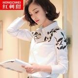 白衬衫女长袖2016春装新款女装印花上衣韩版大码刺绣棉打底衬衣潮