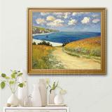 手绘莫奈油画海景油画通往布維爾海岸的小路客厅餐厅玄关装饰挂画
