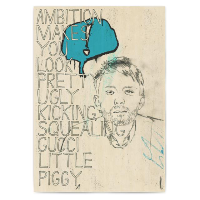 radiohead 经典摇滚乐队 桶木腰 琴行酒吧装饰画 复古牛皮纸海报商品图片