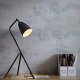 中能灯具时尚简约美式复古三叉铁艺灯罩书房黑色台灯办公室落地灯