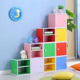包邮简约宜家单个书柜收纳储物柜书架自由组合小书柜子木柜子带门