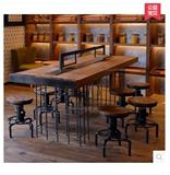 新款LOFT工业风格美式乡村铁艺钢筋实木复古吧椅消防椅餐桌办公桌