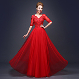 2016新款V领一字肩中袖红色长款蕾丝婚纱礼服新娘敬酒服晚礼服春