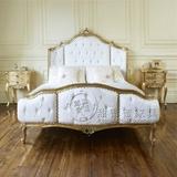 新古典全实木雕花双人软包床美式简欧橡木法式婚床 后现代酒店1.8