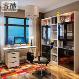 睿酷书房家具电脑桌板式书桌书架组合台式家用现代简约烤漆电脑桌