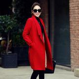 毛呢外套女2015冬装新款韩版毛呢大衣加厚修身显瘦中长款呢子大衣