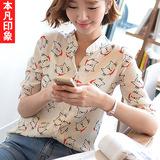 新款上衣女夏装五分中袖衬衫可爱猫咪立领衬衣小清新韩版雪纺衬衫