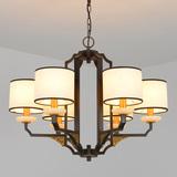 现代新中式吊灯圆形大气客厅灯 中式灯具铁艺餐厅复古布艺灯饰