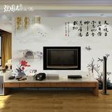 大型无缝壁画壁纸中式客厅沙发电视背景墙纸 水墨山水名画天行健