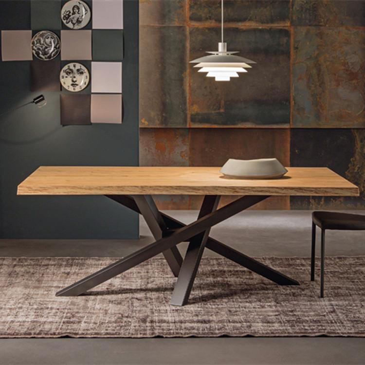 欧式铁艺loft餐桌书桌实木会议桌办公桌咖啡桌原木洽谈桌工作桌子商品图片