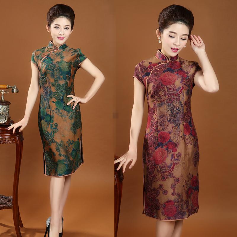 新款中老年女装真丝香云纱旗袍裙 中长款旗袍短袖妈妈装中式复古商品图片