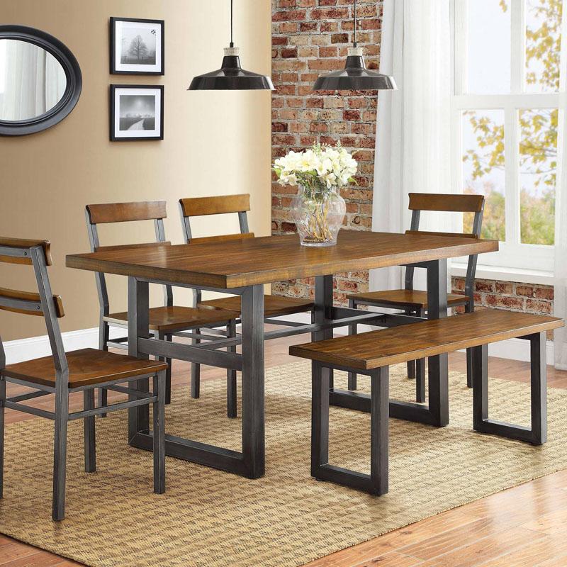 欧式咖啡餐厅实木餐桌椅长方形复古铁艺饭桌会议桌书桌电脑洽谈桌商品图片