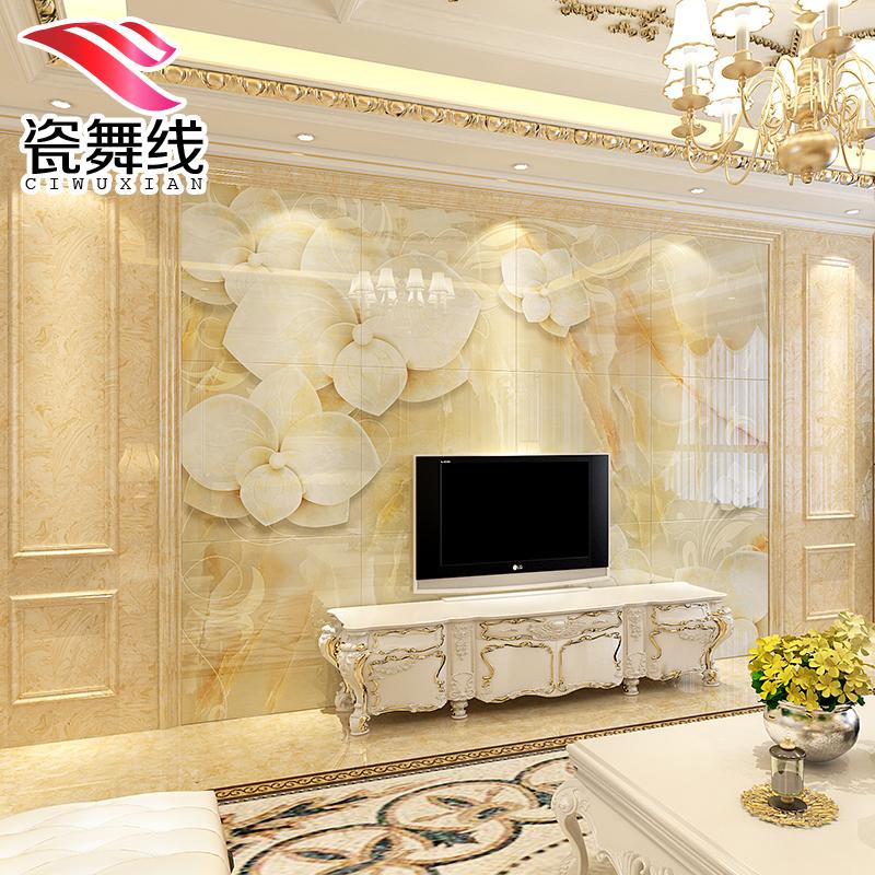 简欧3d电视背景墙瓷砖 微晶石 客厅现代简约雕刻立体欧式整体拼花商品图片