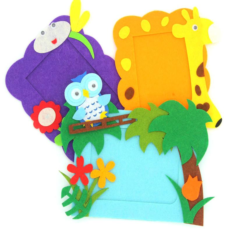 不织布相框 儿童手工diy制作立体布艺材料包幼儿粘贴画亲子玩具商品