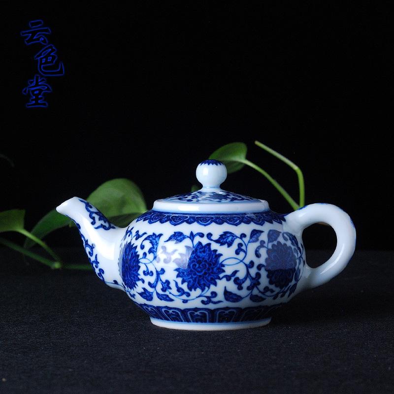 景德镇全手工青花缠枝莲茶壶 仿雍正壶 仿古瓷 瓷壶 茶具 把玩壶商品