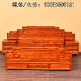 仿古实木中式双人床1.8米山水雕花大床头柜明清古典家具特价