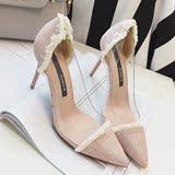 16新款时尚尖头细跟高跟鞋 性感透明塑胶拼接 浅口套脚显瘦女单鞋