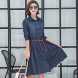 连衣裙女2016秋季新款牛仔裙中长款长袖修身显瘦大码女装韩版裙子