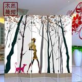 木质布艺屏风强简易隔断玄关门时尚客厅卧室家具定做房间白色韩式